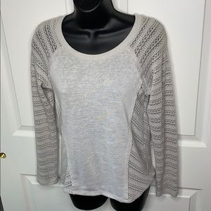 Gray almost famous sweater with crochet detail